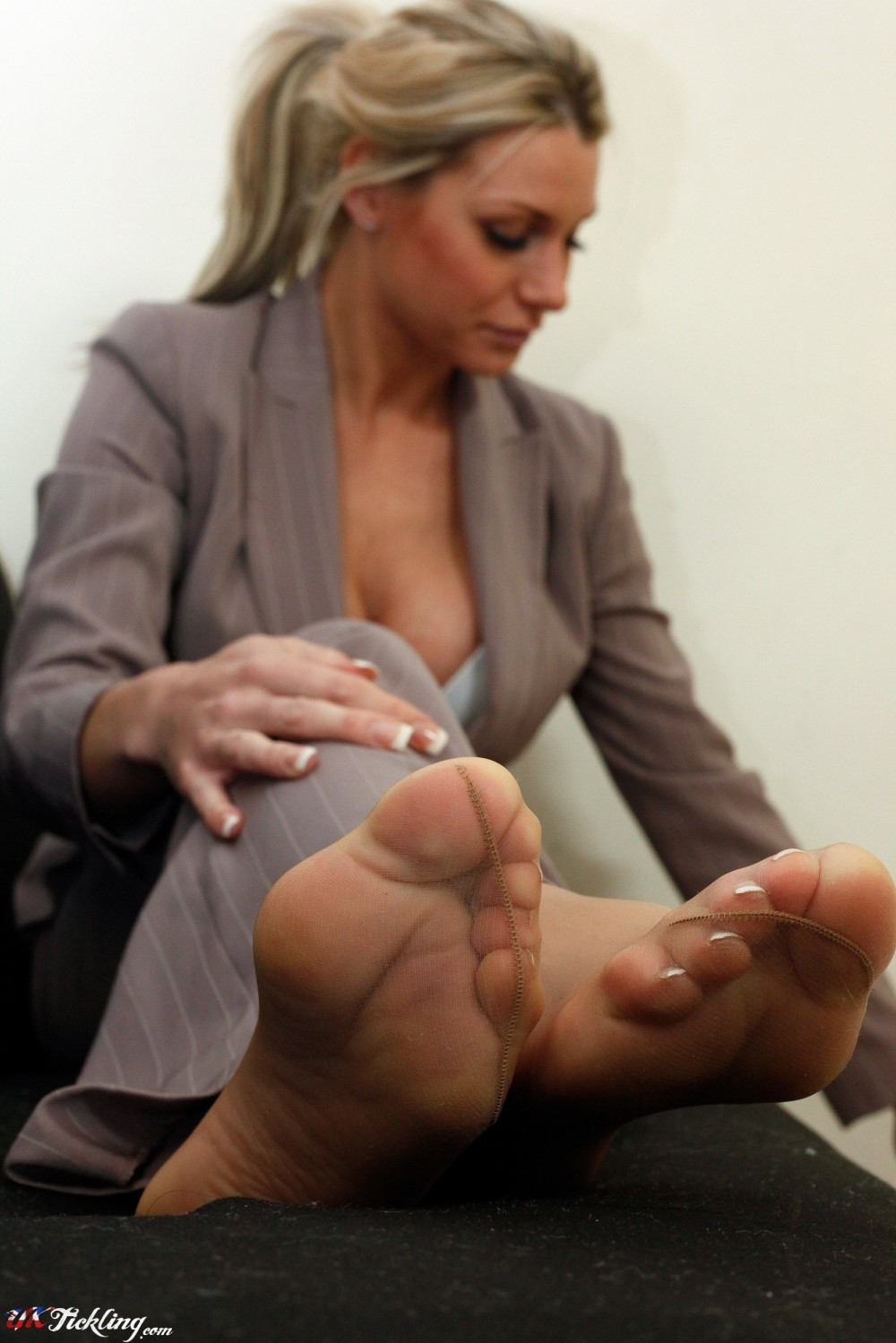 Black Nylon Feet Tickle