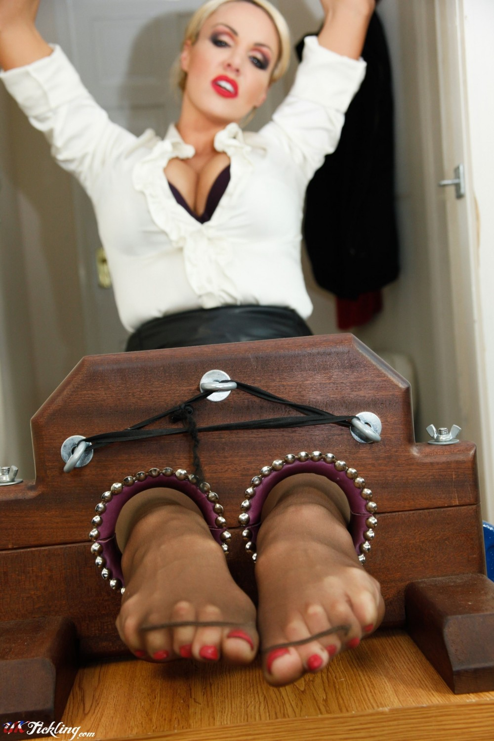 Nylon legs and feet bondage